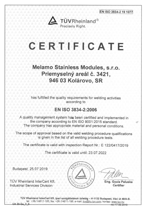 ISO-3834-2 certificate